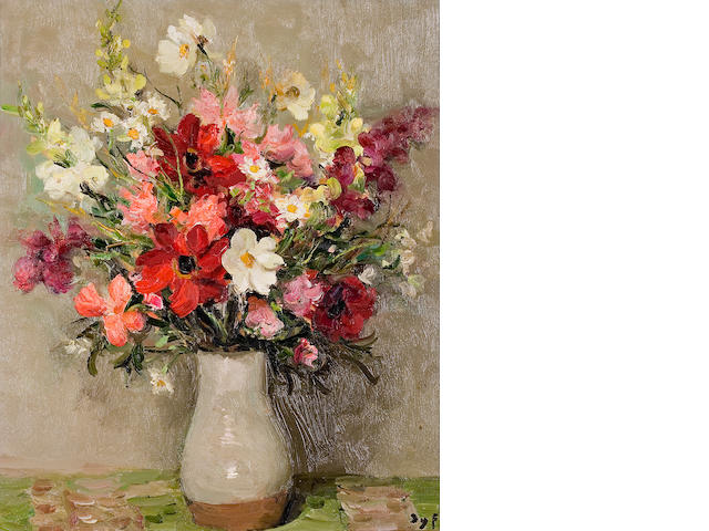 Marcel Dyf (French, 1899-1985) Dahlias et cosmos (no. 41787), 1967  21 1/2 x 18in (54.6 x 45.7cm)