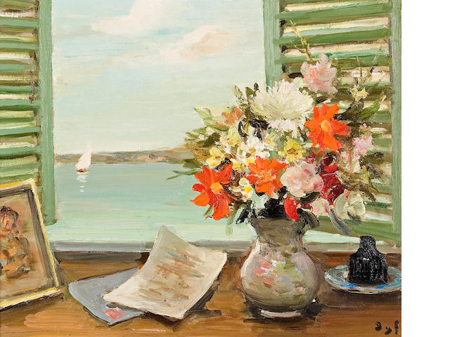 Marcel Dyf (French, 1899-1985) Les volets entr'ouverts (no. 752), 1971 18 x 21 3/4in (45.8 x 55.2cm)