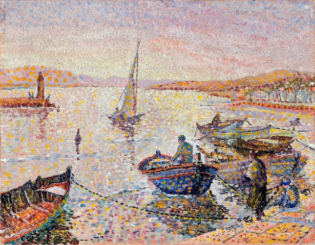 Yvonne Canu (French, born 1921) Port en Corse 10 5/8 x 13 3/4in (27 x 35cm)
