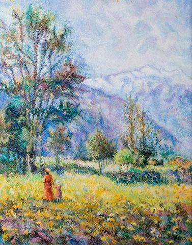 (n/a) Hughes Claude Pissarro (French, born 1935) Le plateau d'Aoste 31 7/8 x 25 5/8in (81 x 65cm)