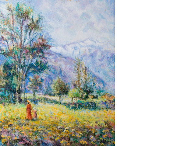 H. Claude Pissaro, Le Plateau d'Aoste, oil on canvas