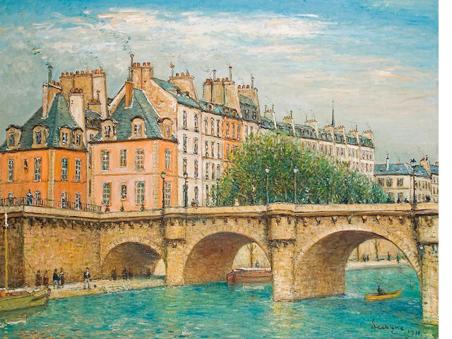 Alois Lecoque, Paris Bridge, 1971, oil on canvas