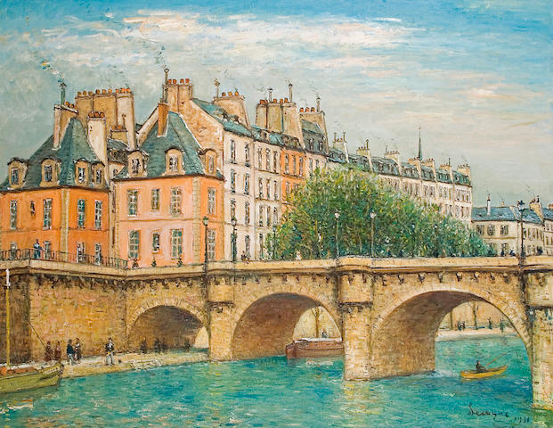 (n/a) Alois Lecoque (Czechoslovakian, 1891-1981) Paris Bridge, 1971 44 x 56in (111.8 x 142.2cm)