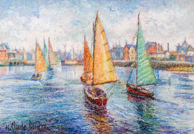 Hughes Claude Pissarro (French, born 1935) Harbor Scene 9 7/8 x 14 1/8in (25 x 36cm)