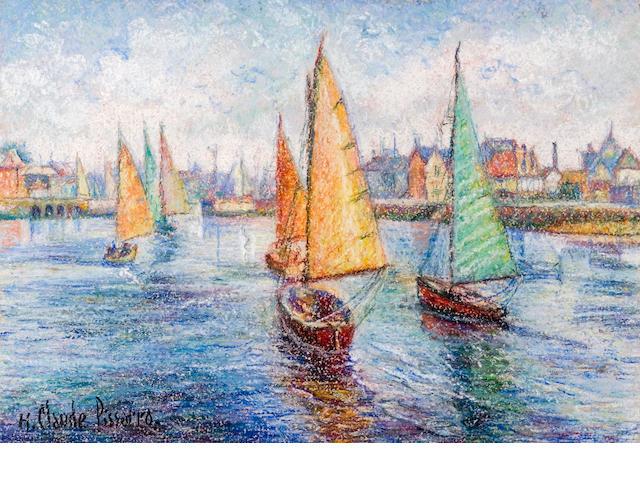 H. Claude Pissaro, Harbor Scene, pastel