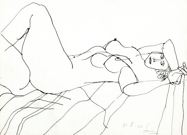 Frank Lobdell (American, born 1921) Untitled (Reclining Female Nude), 1972 12 1/2 x 17in (32 x 43cm)