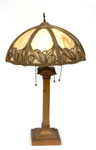 An American bronze and slag glass table lamp