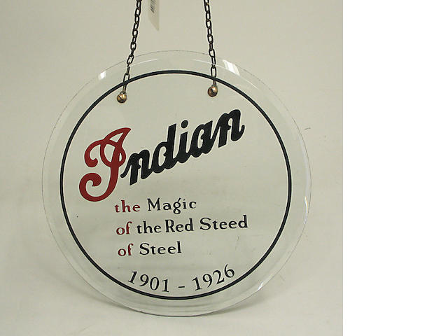 An Indian Motorcycles glass showroom sign,