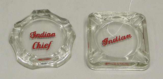 Two Indian advertising ashtrays,