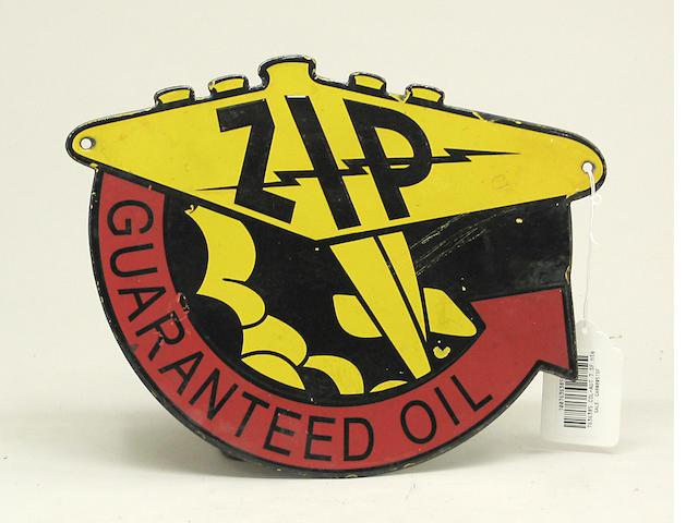 A ZIP Guaranteed Oil enamel advertising sign,