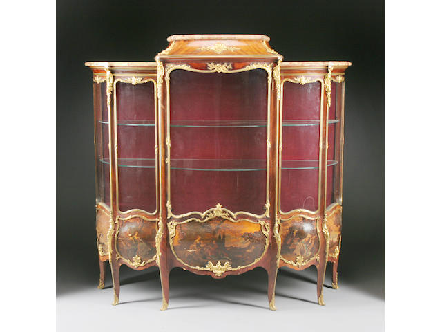 A Louis XV style gilt bronze mounted and paint decorated walnut vitrine