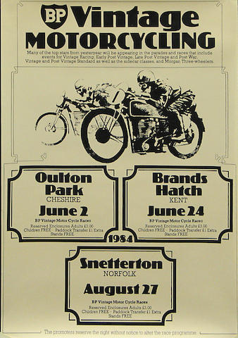 A BP Vintage Motorcycling poster, 27 1/2 x 19 1/2in