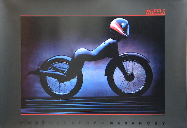 A 'Wheels' Carrera motorcycing poster, 20 x 28in