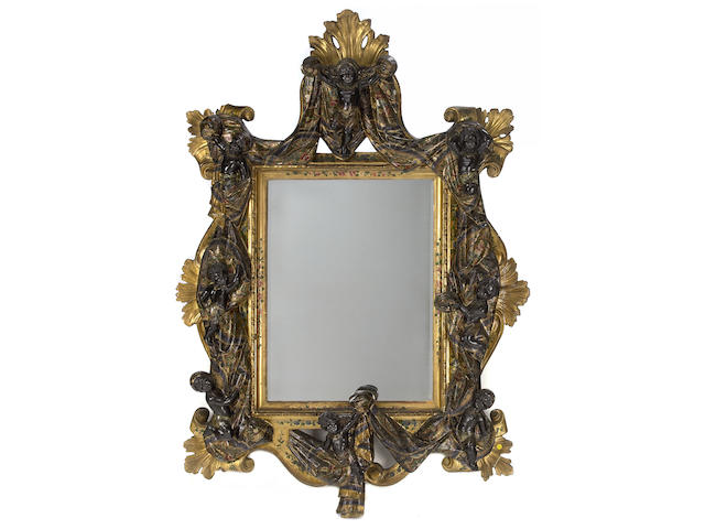 A Venetian polychrome decorated mirror