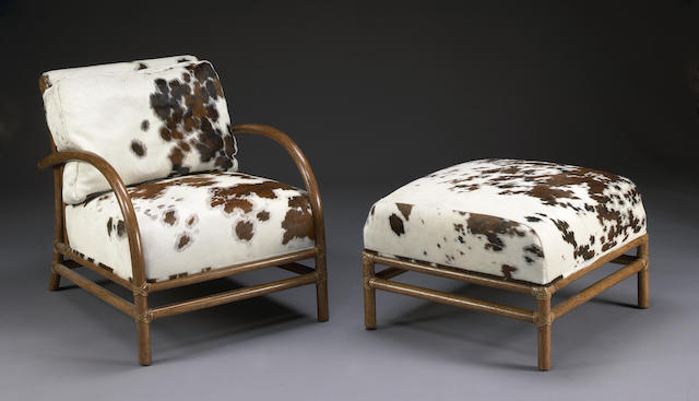 An O Diaz Ascuy 'Toscana' bamboo and cowhide upholstered club chair and ottoman