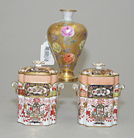 "A Dresden porcelain ""portrait"" vase and pair of Copeland bone china covered canisters"