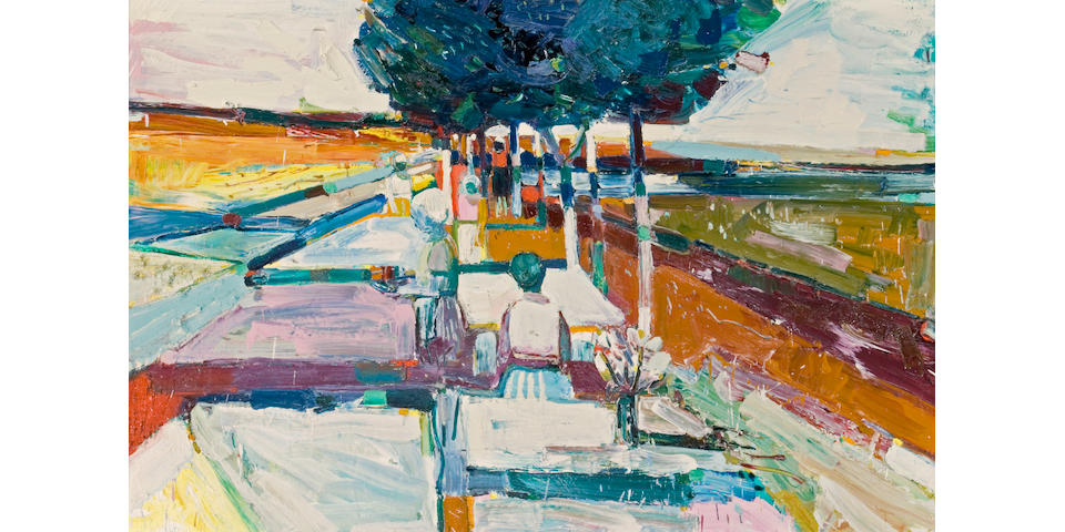 Roland Petersen (American, born 1926) Spring Picnic, 1963 49 x 71in (124.5 x 180.5cm)