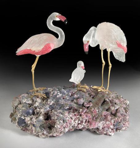 Carved Gemstone Flamingo Family