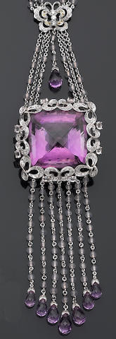 An amethyst, diamond, and gem-set necklace
