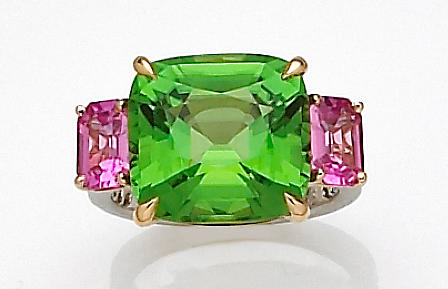 A peridot, pink sapphire and diamond ring