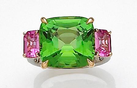 A peridot, pink sapphire and diamond ring