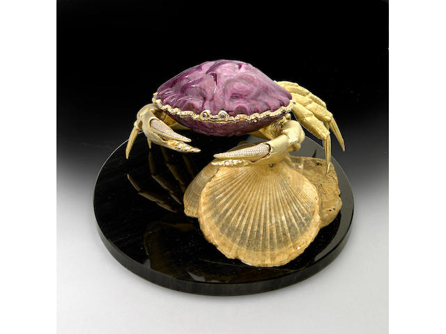 "Fantastic Ruby and 18K Gold Box—""The Crab"""