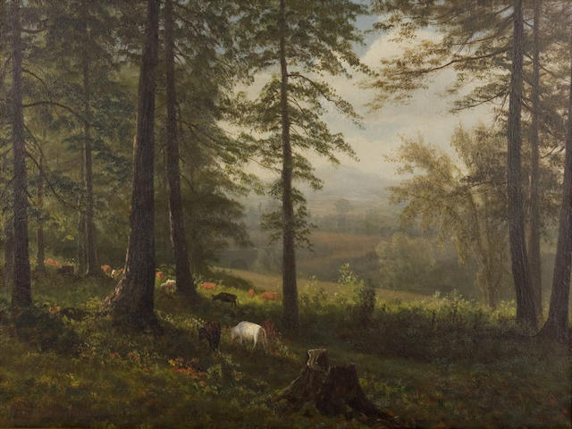 Albert  Bierstadt (German, 1830-1902) Grazing Cows at Woods Edge 14 x 19in