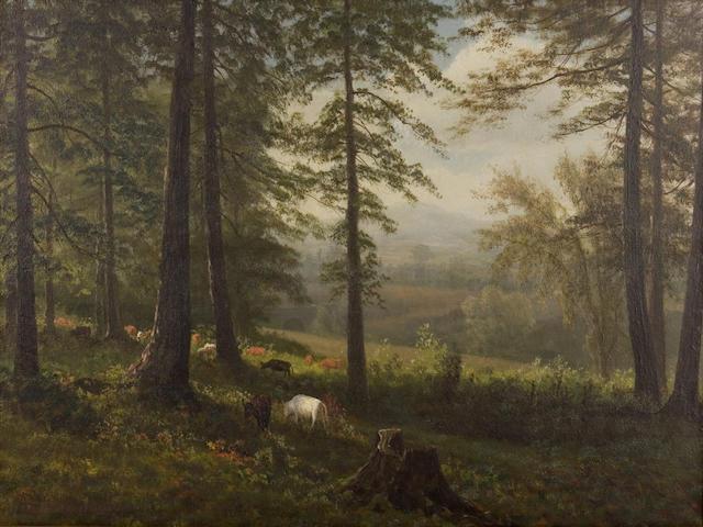 Albert  Bierstadt (German, 1830-1902) View to a Clearing 14 x 19in