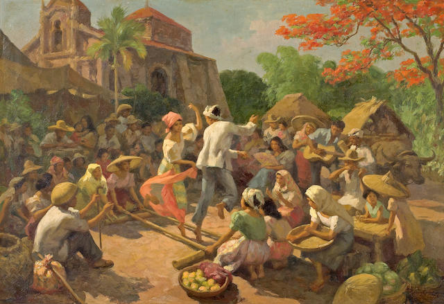 (n/a) Fernando Cueto Amorsolo (Filipino, 1892-1972) Tinikling (Bamboo Pole Dance), 1956 23 x 33in (58.5 x 83.9cm)