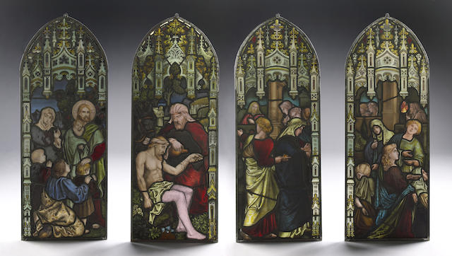 Four stained glass panels