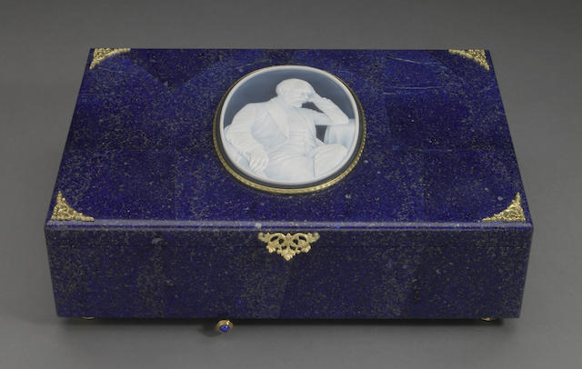 Lapis and Agate Cameo Music Box—Portrait of Tschaikowsky - Piano Concerto No. 1