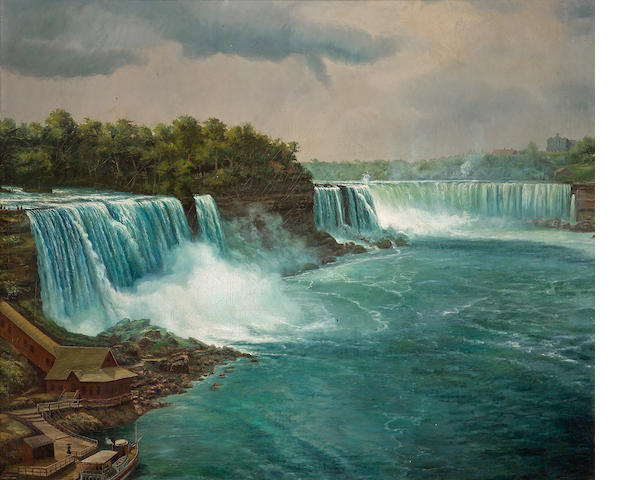 ** GOING TO NY, FOR MAY SALE ** American School, Niagra Falls, 56 X 69in
