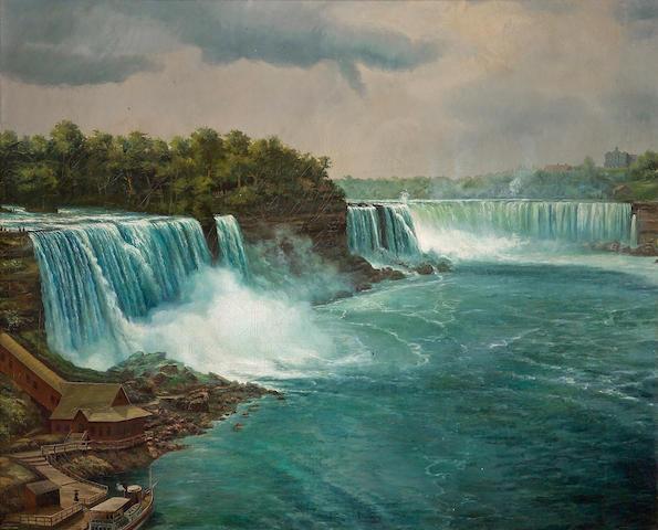 American School, 19th Century Niagara Falls 56 x 69in