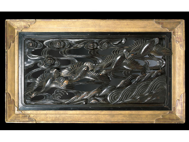 A Japanese parcel gilt carved wood panel