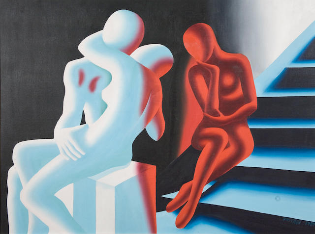 Mark Kostabi (American, born 1960) Cold Hell, 1989 36 x 48in (92 x 122cm)