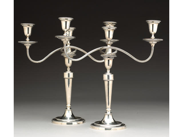 George III Silver Pair of Candlesticks with Matching George V Three Light Branches