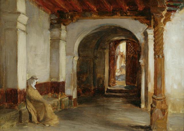 Frederick Arthur Bridgman (American, 1847-1928) Small Entrance to the Mosque de la Pecherie, Algiers 10 x 14in