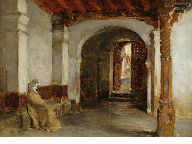Frederick Arthur Bridgman (American, 1847-1928) Small Entrance to the Mosque de la Pecherie, Algiers 10 x 14in