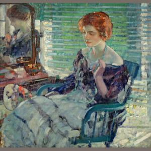 Richard Edward Miller (American, 1875-1943) Seated Lady with Red Hair 34 x 36in