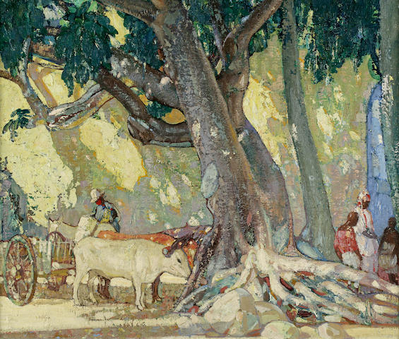 Richard Edward Miller (American, 1875-1943) Cotton Silk Tree, St. Thomas, Virgin Islands 25 x 30in