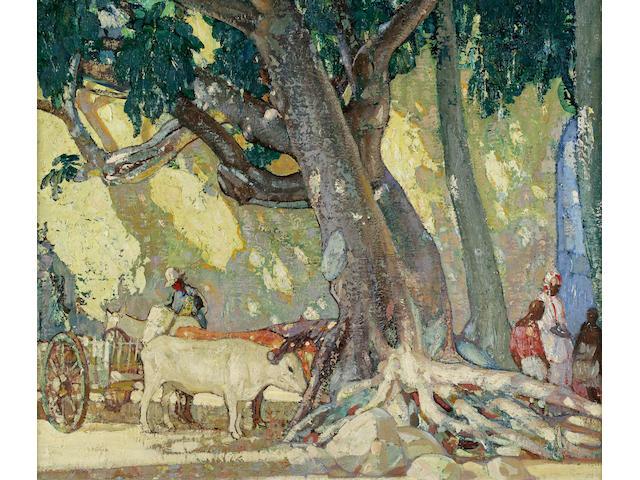 Richard Edward Miller (American, 1875-1943) Cotton Silk Tree, St. Thomas, Virgin Islands 25 x 30in