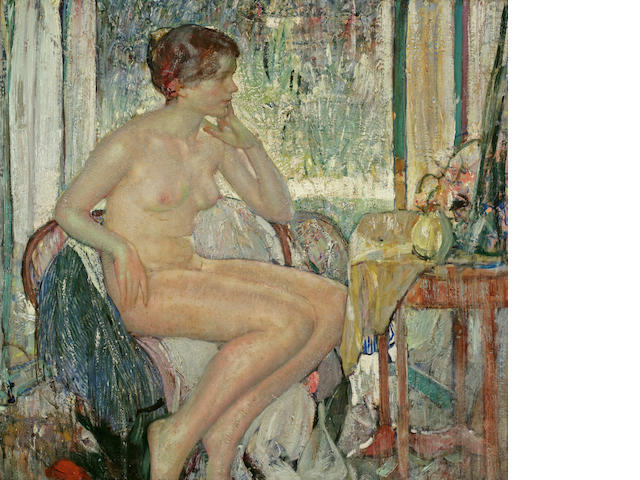 Richard Edward Miller (1875-1943) Seated Nude 34 x 36in