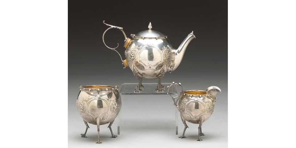 """Coin Silver """"Chicken Leg"""" Tete-a Tete Tea Set by Gorham"""