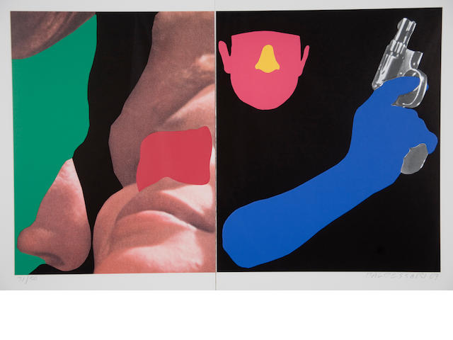 John Baldessari (American, born 1931) Noses & Ears, Etc.: Couple and Man with Gun, 2007 22 1/2 x 33 1/2in (57 x 85cm)
