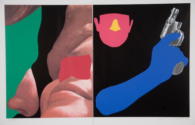 John Baldessari (American, born 1931) Noses & Ears, Etc.: Couple and Man with Gun, 2007 22 1/2 x 33 1/2in (57 x 85cm)