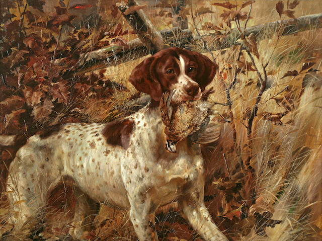 Edmund Henry Osthaus (American, 1858-1928) Pointer Soft-Mouthing a Quail 27 1/2 x 36in