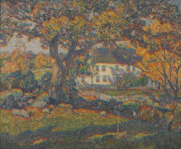 Wilson Henry Irvine (American, 1869-1936) New England Coziness 25 x 30 1/8in