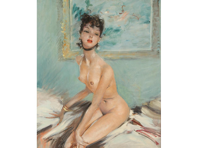 Jean-Gabriel Domergue (French, 1889-1962) Nadine (737) 25 1/2 x 21in (64.8 x 53.3cm)