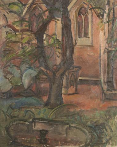 Achille Emile Othon Friesz (French, 1879-1949) Court Yard with Church 28 3/8 x 22 13/16in (72 x 58cm)