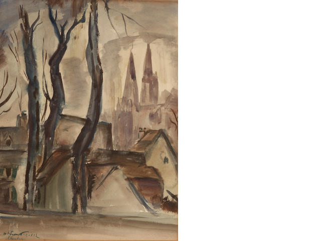 Achille Emile Othon Friesz (French, 1879-1949) Chartres 15 3/8 x 8 1/4in (39.5 x 21.5cm))